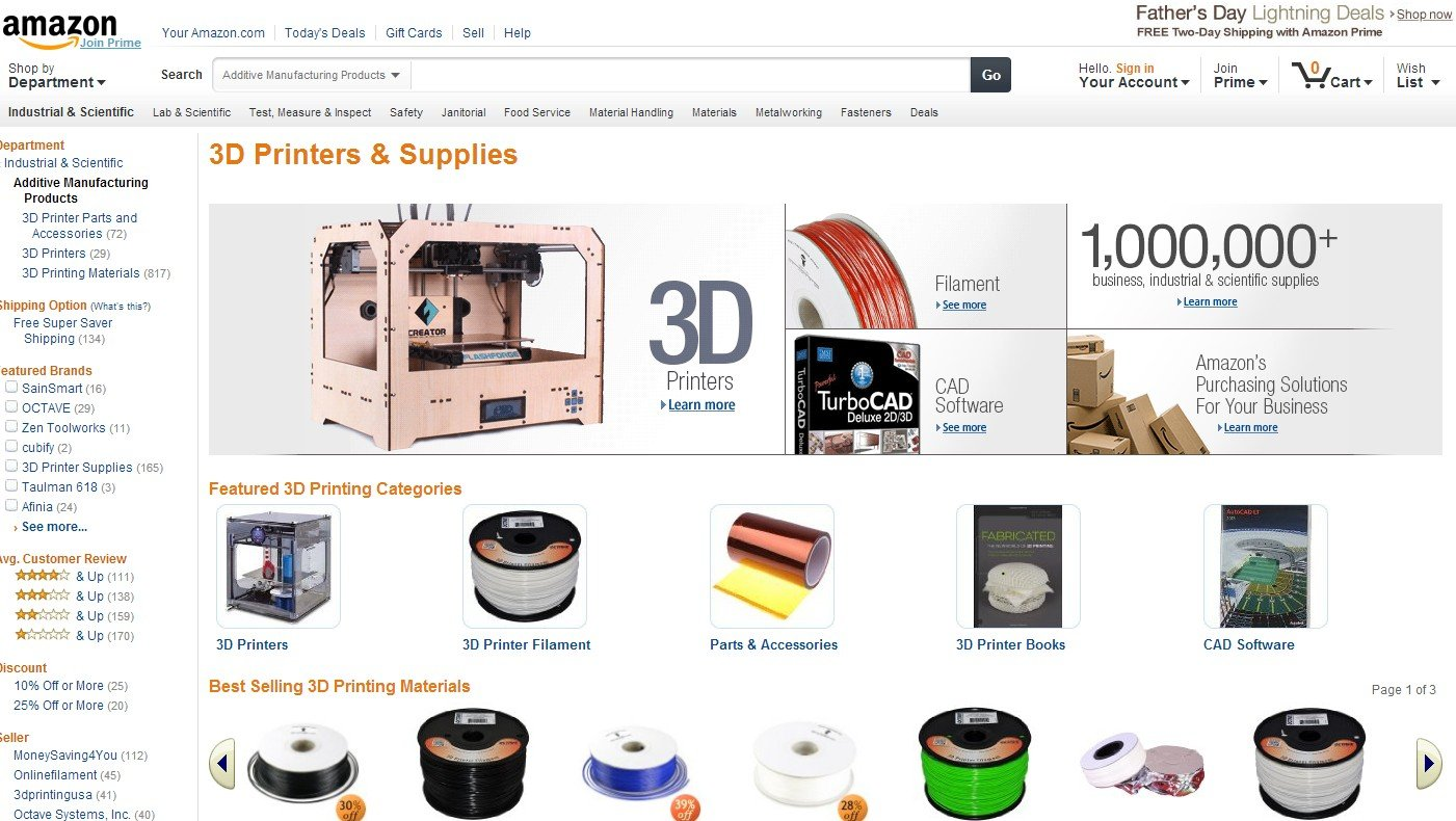 Amazon 3D Printer section