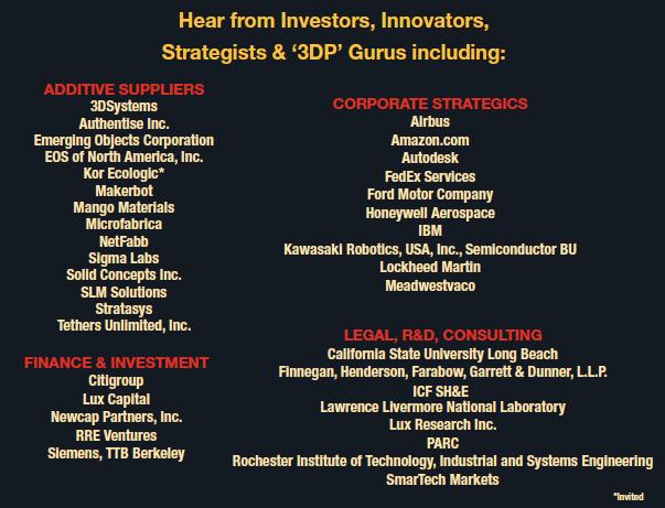 company list - additive disruption summit