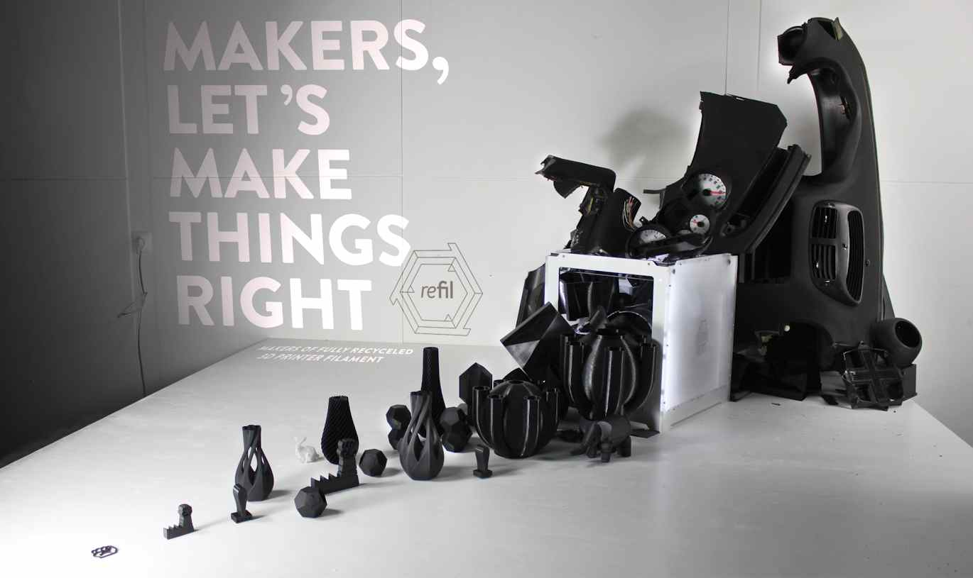 3D Metal Printer >> Refil makes 3D Printing Filament from Recycled Car Dashboards