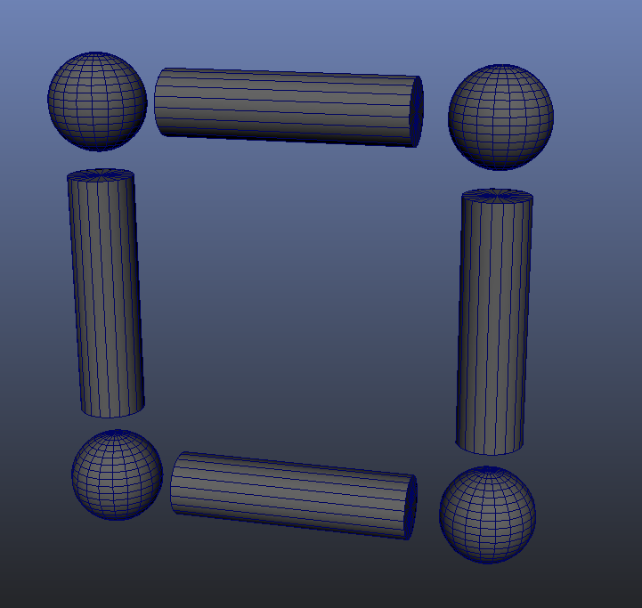 4 separate spheres and 4 separate cylinders