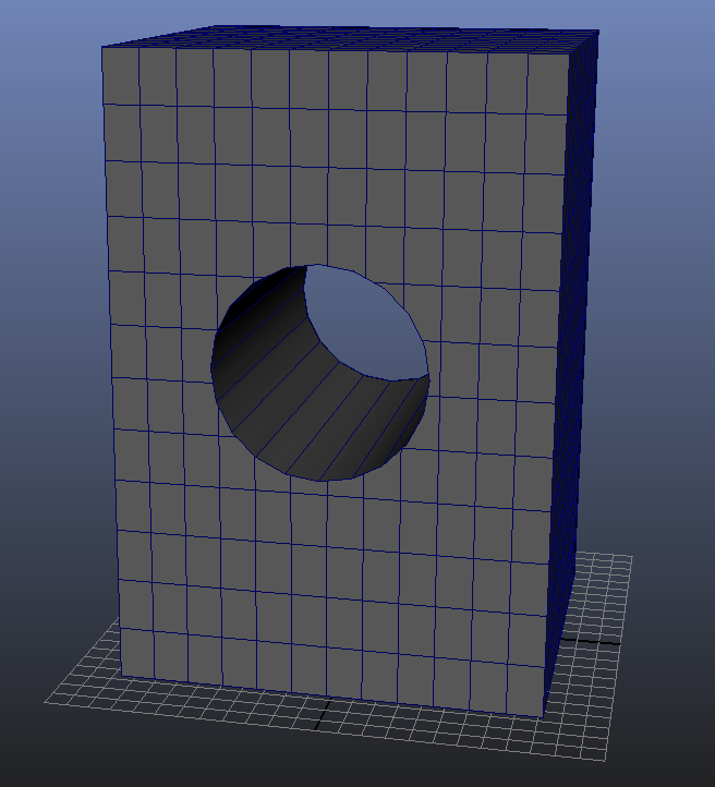 how to cut a hole in a polygon in maya