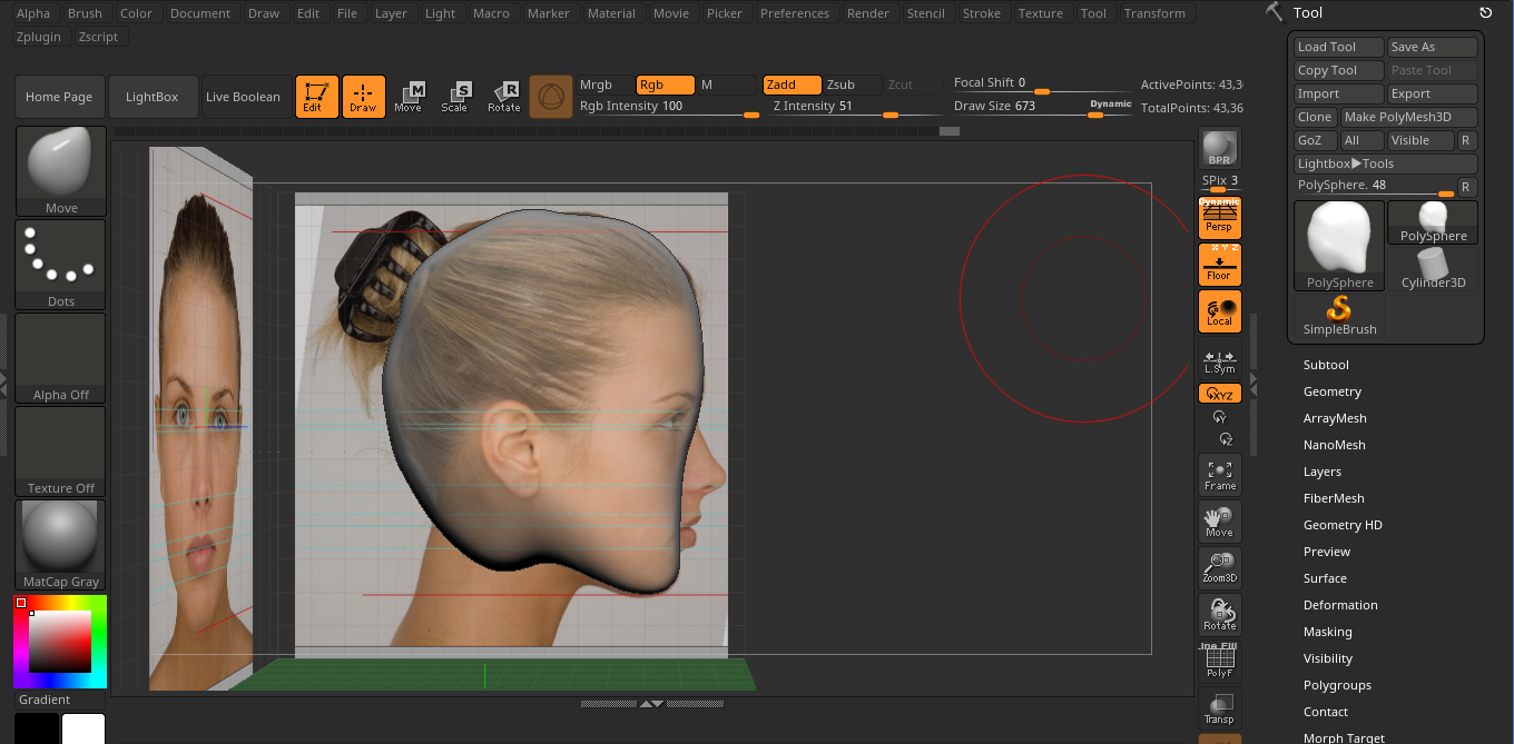 zbrush move tool hotkeys side view