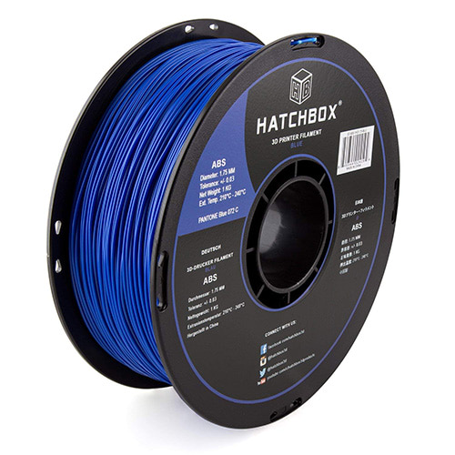 HATCHBOX ABS Filament, 1.75mm, 1.0kg Spool, Blue