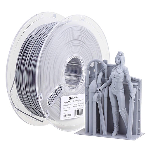Polymaker PolyLite PLA Filament, 1.75mm, 1.0kg Spool, Grey