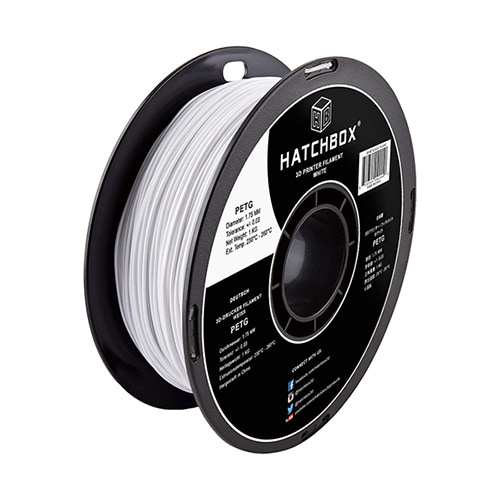 HATCHBOX PETG Filament, 1.75mm, 1.0kg Spool, White