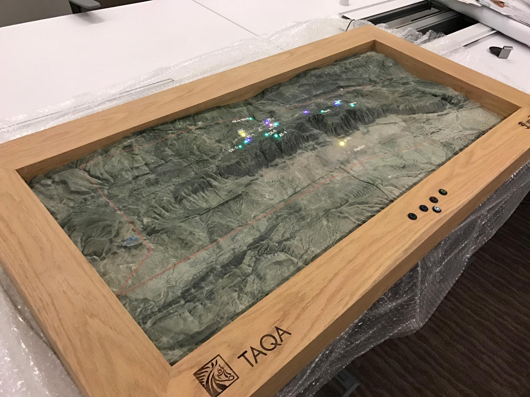 GIS satellite data 3D printed in sandstone