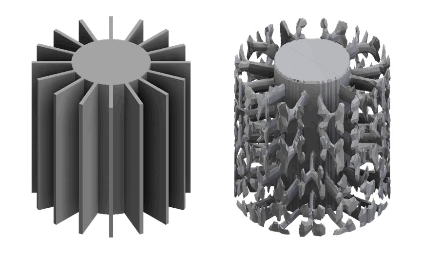 Example of topology optimization on a heatsink