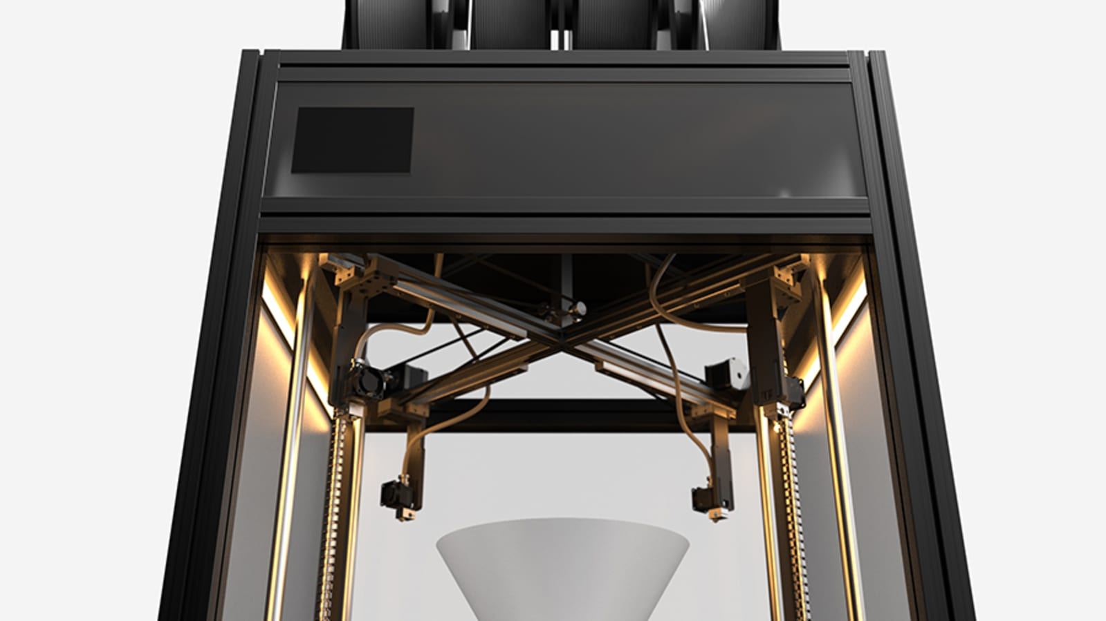 Dancer 3d printer with four printheads on four gantries