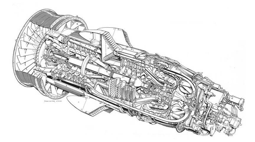 cutaway of airplane engine