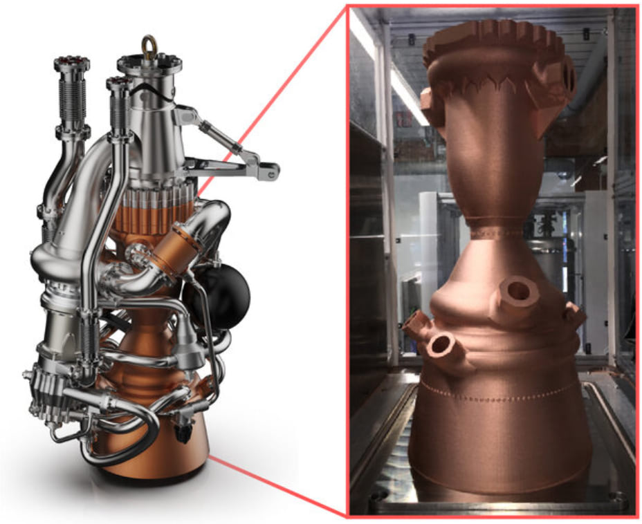 fully dressed rocket engine next to the printed part