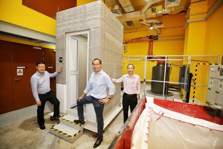 3d printed bathroom unit robotic arm concrete 3d printer